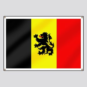 Rampant Lion Belgian Flag Banner