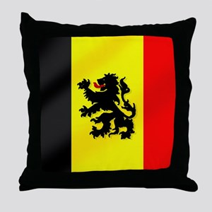 Rampant Lion Belgian Flag Throw Pillow