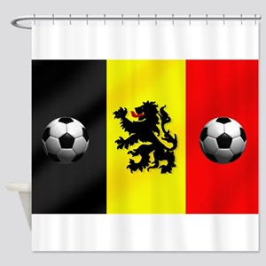 Belgium Football Flag Shower Curtain