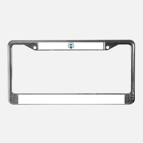 Baby Blue Peacock License Plate Frame