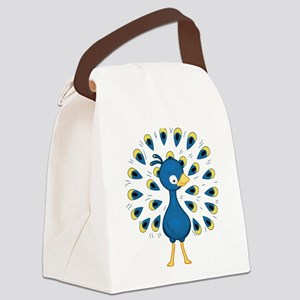Baby Blue Peacock Canvas Lunch Bag
