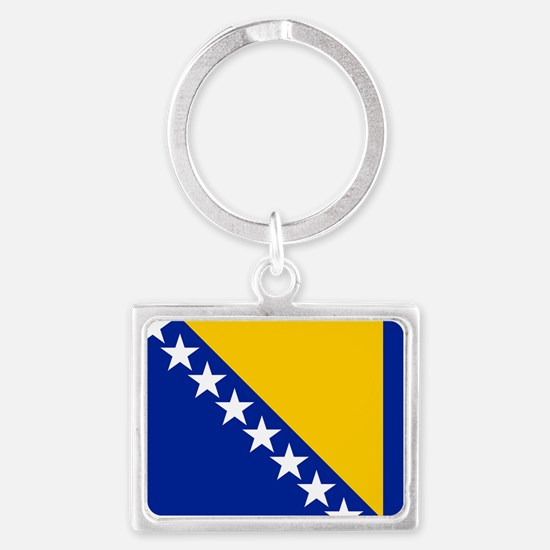 Flag of Bosnia Landscape Keychain