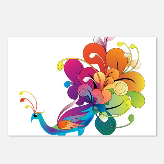 Rainbow Peacock Postcards (Package of 8)