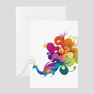 Rainbow Peacock Greeting Card