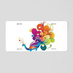 Rainbow Peacock Aluminum License Plate