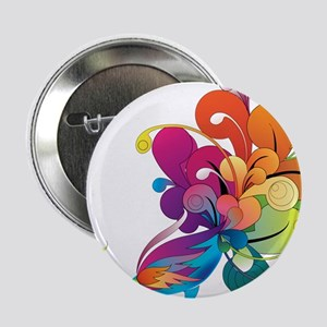 "Rainbow Peacock 2.25"" Button"