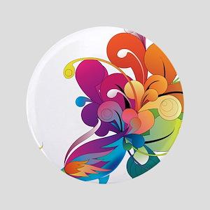 "Rainbow Peacock 3.5"" Button"