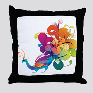 Rainbow Peacock Throw Pillow