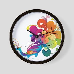 Rainbow Peacock Wall Clock