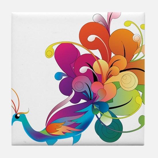 Rainbow Peacock Tile Coaster