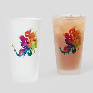 Rainbow Peacock Drinking Glass