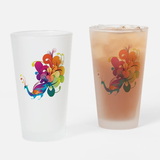 Rainbow Peacock Drinking Glass