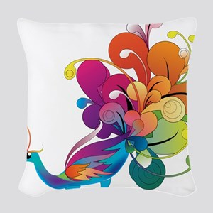 Rainbow Peacock Woven Throw Pillow