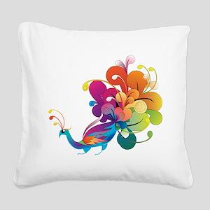 Rainbow Peacock Square Canvas Pillow