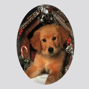 Adorable Golden Puppy Oval Ornament