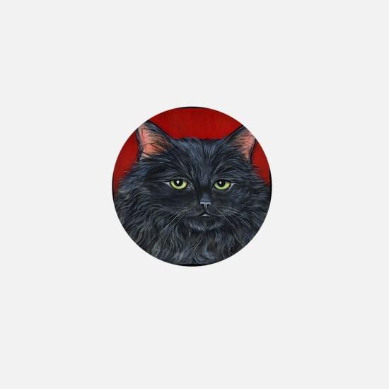 Cat Black Long Hair Mini Button