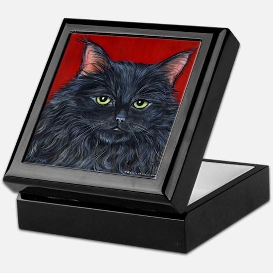 Cat Black Long Hair Keepsake Box