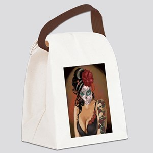 Skulls and Roses Muertos Canvas Lunch Bag