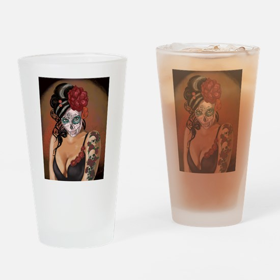 Skulls and Roses Muertos Drinking Glass