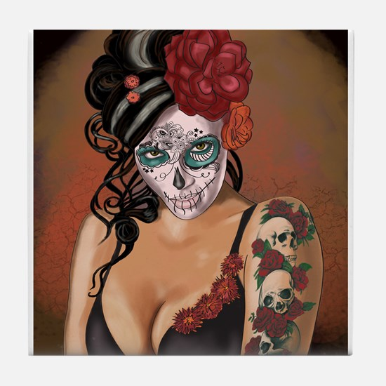 Skulls and Roses Muertos Tile Coaster