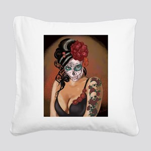 Skulls and Roses Muertos Square Canvas Pillow