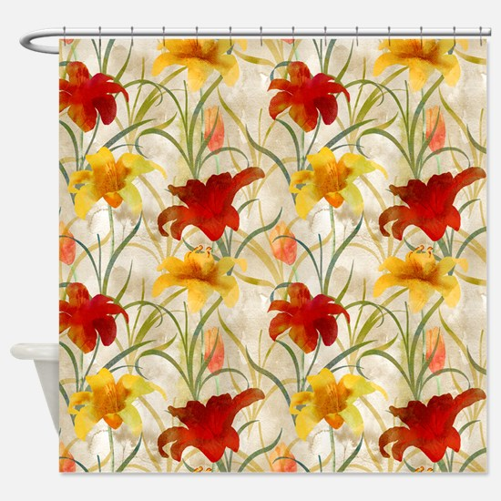 Painted Lilies Shower Curtain