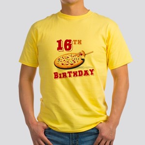 16th Birthday Pizza Party Yellow T-Shirt