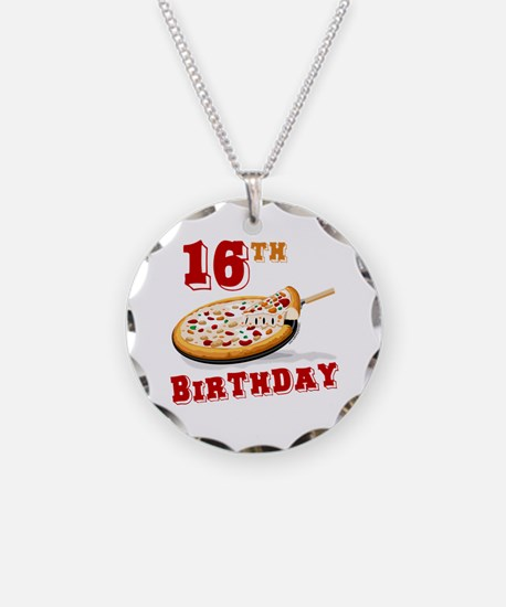 16th Birthday Pizza Party Necklace