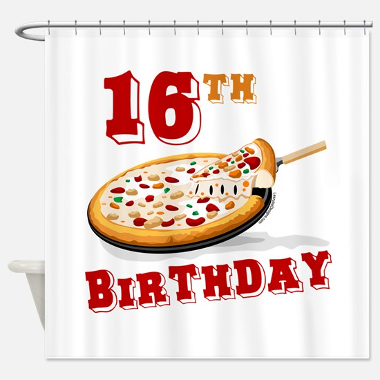 16th Birthday Pizza Party Shower Curtain