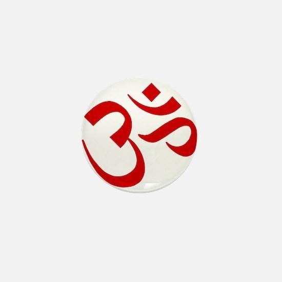 Om Symbol Red Mini Button