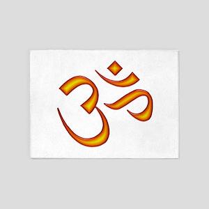 Om Symbol Orange 5'x7'Area Rug