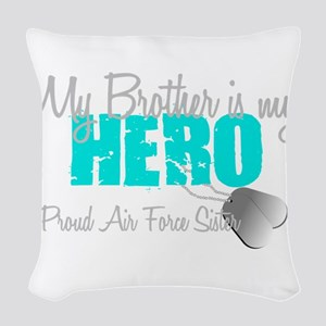 AF Sister Brother is my hero Woven Throw Pillow