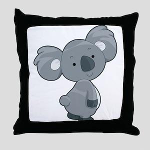 Cute Gray Koala Throw Pillow