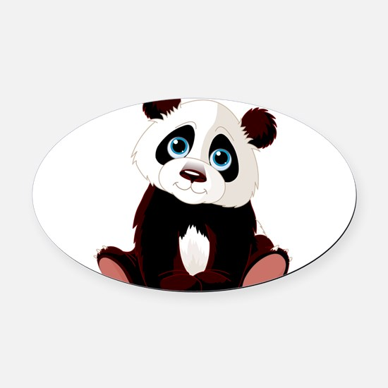 Baby Panda Oval Car Magnet