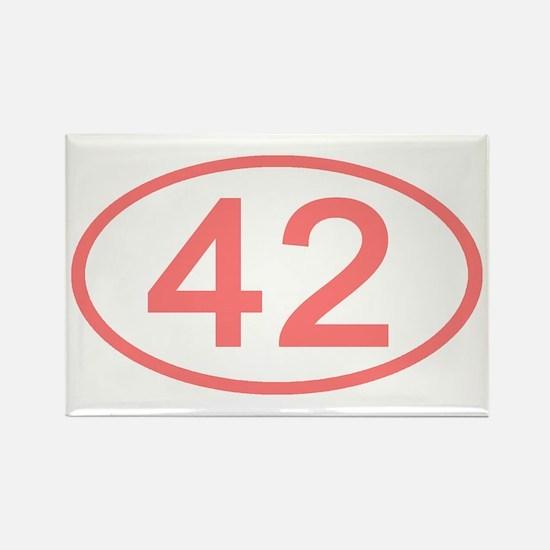 Number 42 Oval Rectangle Magnet