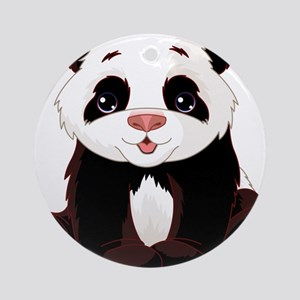 Cute Baby Panda Ornament (Round)