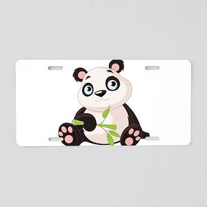 Baby Panda with Bamboo Aluminum License Plate