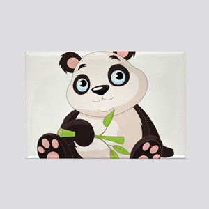 Baby Panda with Bamboo Rectangle Magnet