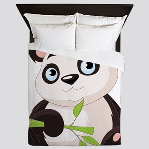 Baby Panda with Bamboo Queen Duvet