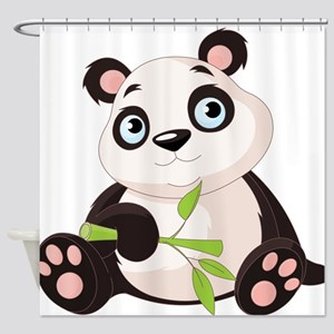 Baby Panda with Bamboo Shower Curtain