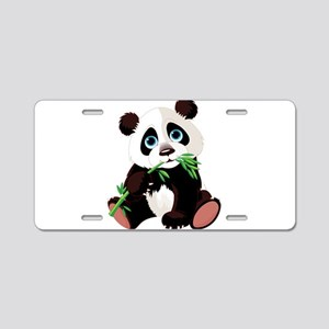 Panda Eating Bamboo Aluminum License Plate