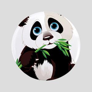 "Panda Eating Bamboo 3.5"" Button"