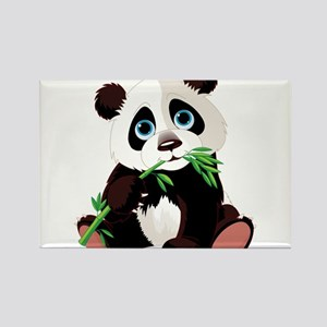 Panda Eating Bamboo Rectangle Magnet