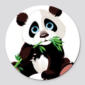 Panda Eating Bamboo Round Car Magnet