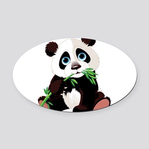 Panda Eating Bamboo Oval Car Magnet