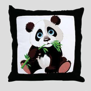 Panda Eating Bamboo Throw Pillow