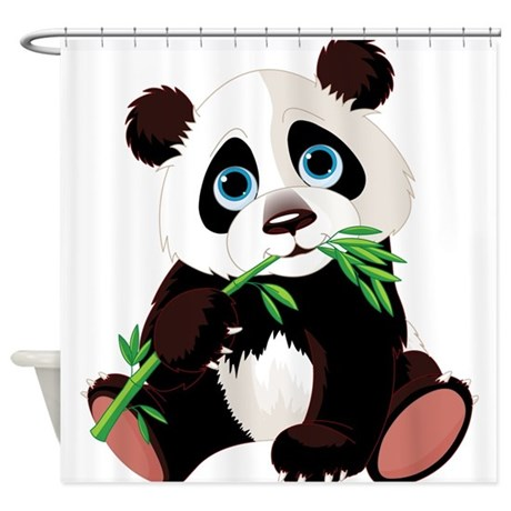 Lovely Panda Eating Bamboo Shower Curtain