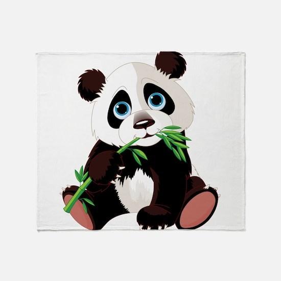 Panda Eating Bamboo Throw Blanket