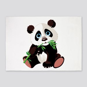 Panda Eating Bamboo 5'x7'Area Rug