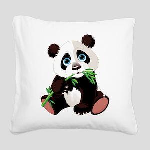 Panda Eating Bamboo Square Canvas Pillow